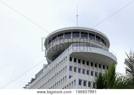 Honolulu, Hawaii, USA - May 30, 2016: Close up image of the Top of Waikiki iconic revolving restaurant
