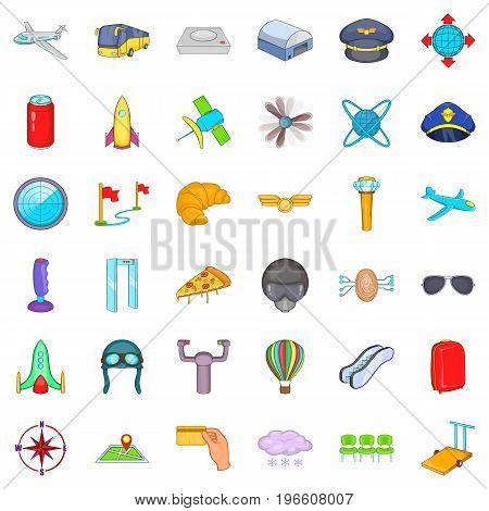 International airport icons set. Cartoon style of 36 international airport vector icons for web isolated on white background