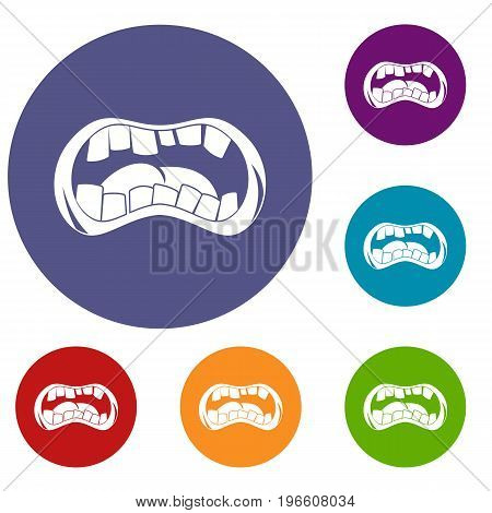 Zombie mouth icons set in flat circle red, blue and green color for web