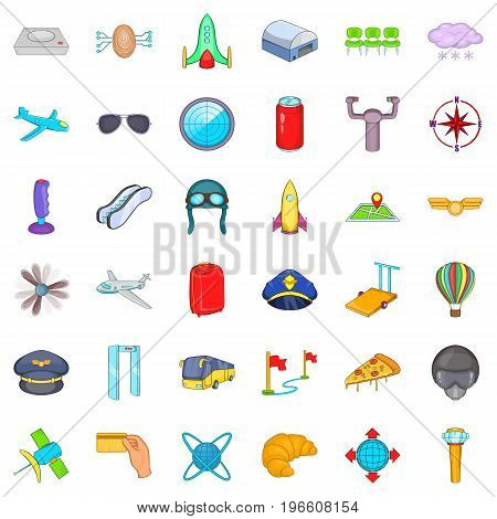 Airport terminal icons set. Cartoon style of 36 airport terminal vector icons for web isolated on white background