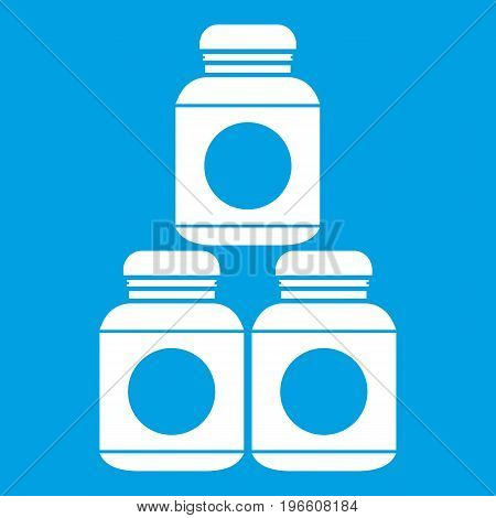 Sport nutrition containers icon white isolated on blue background vector illustration