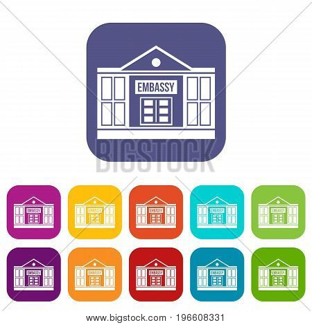 Embassy icons set vector illustration in flat style in colors red, blue, green, and other