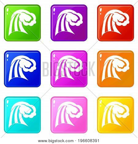 Big wave icons of 9 color set isolated vector illustration