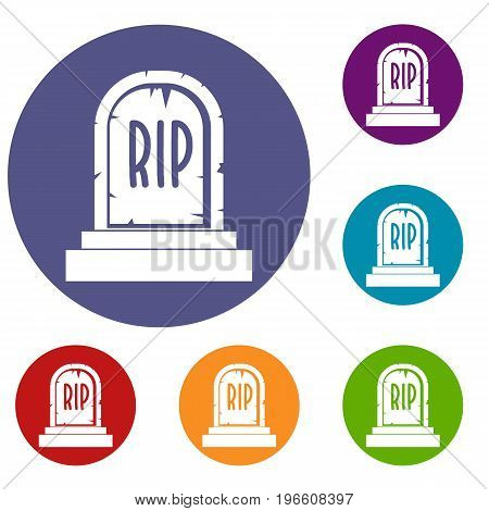 Gravestone with RIP text icons set in flat circle red, blue and green color for web