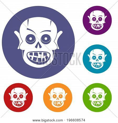 Living dead icons set in flat circle red, blue and green color for web