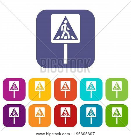 Pedestrian sign icons set vector illustration in flat style in colors red, blue, green, and other
