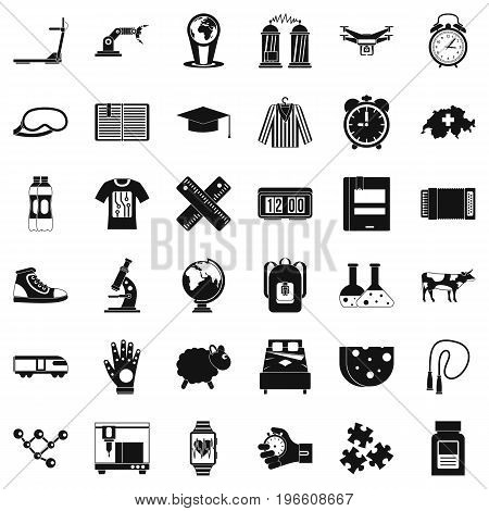 Alarm clock icons set. Simple style of 36 alarm clock vector icons for web isolated on white background