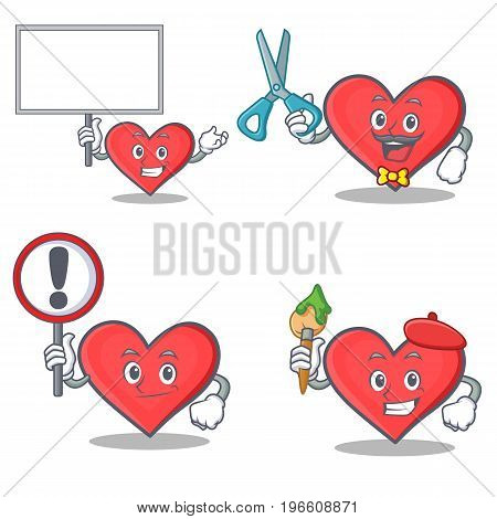 Set of heart character with bring board sign barber artist vector illustration