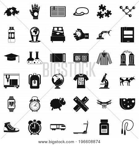 Switzerland icons set. Simple style of 36 switzerland vector icons for web isolated on white background