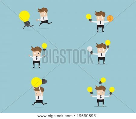 set of businessman with bulb idea cartoon vector illustration