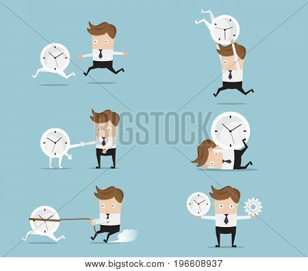 set of businessman cartoon with clock time management concept vector illustration