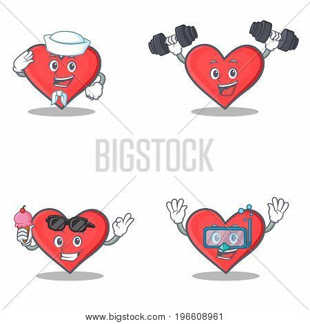 Set of heart character with sailor fitness ice cream diving vector illustration