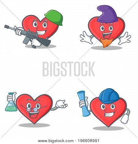 Set of heart character with army elf professor architect vector illustration