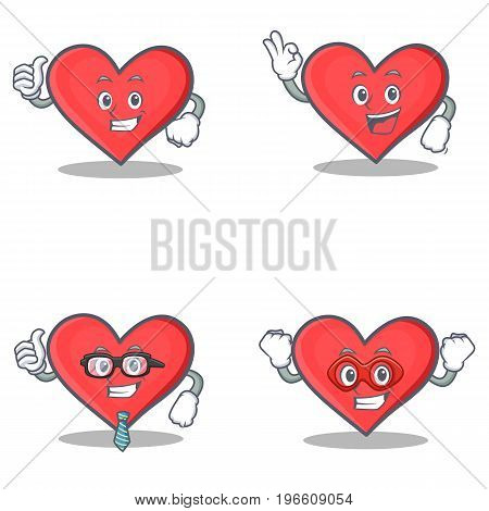 Set of heart character with proud okay businessman hero vector illustration