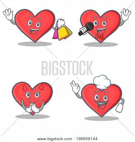 Set of heart character with shopping karaoke devil chef vector illustration