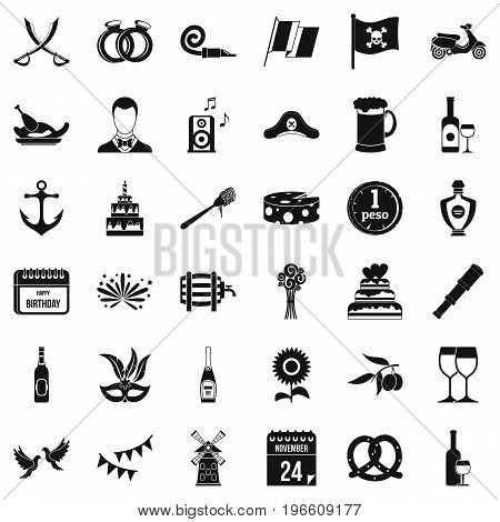 Alcohol icons set. Simple style of 36 alcohol vector icons for web isolated on white background
