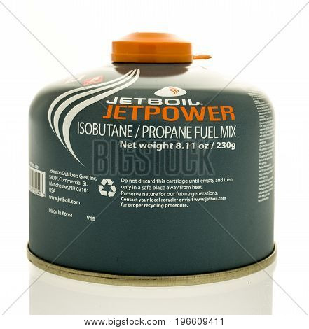 Winneconne WI - 22 July 2017: A canister of Jetboil Jetpower propane fuel mix on an isolated background.