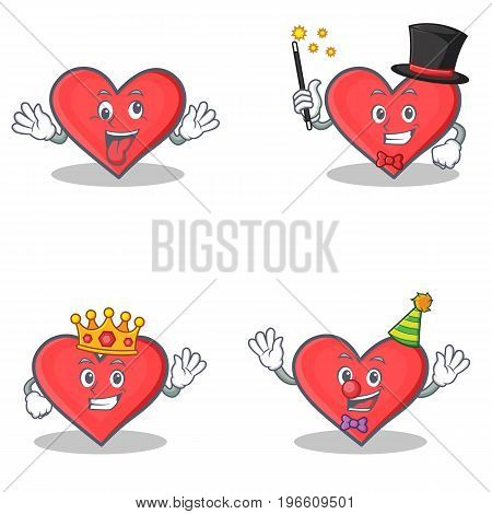 Set of heart character with crazy magician king clown vector illustration