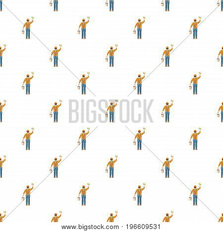Man cleaning with bucket and sponge back view pattern seamless repeat in cartoon style vector illustration