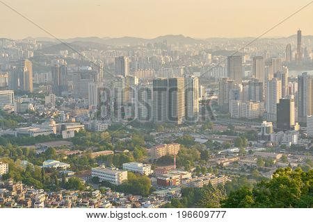 SEOUL, SOUTH KOREA - CIRCA MAY, 2017: Seoul city view from Namsan Mountain at daytime. Seoul Special City is the capital and largest metropolis of the Republic of Korea.