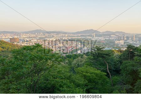 SEOUL, SOUTH KOREA - CIRCA MAY, 2017: Seoul cityscape at daytime. Seoul Special City is the capital and largest metropolis of the Republic of Korea.