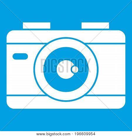 Photo camera icon white isolated on blue background vector illustration