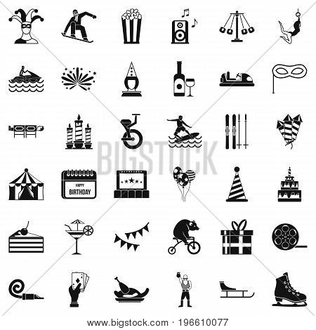 Circus icons set. Simple style of 36 circus vector icons for web isolated on white background