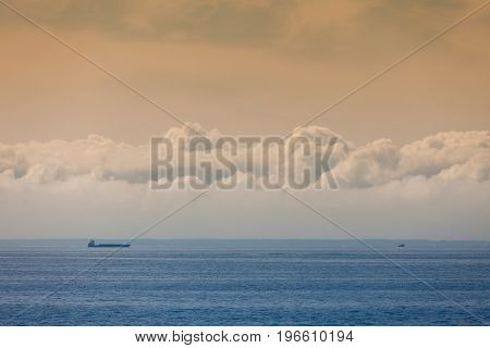 Seascape, Ship On Sea, Horizon And Sky.
