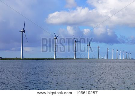 Scenic River Offshore Windmill Farm Generating Clean Energy