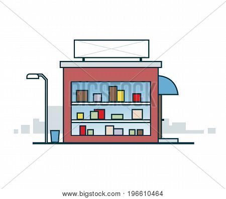 Shop window with a sign. Vector illustration EPS8