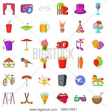 Attraction icons set. Cartoon style of 36 attraction vector icons for web isolated on white background