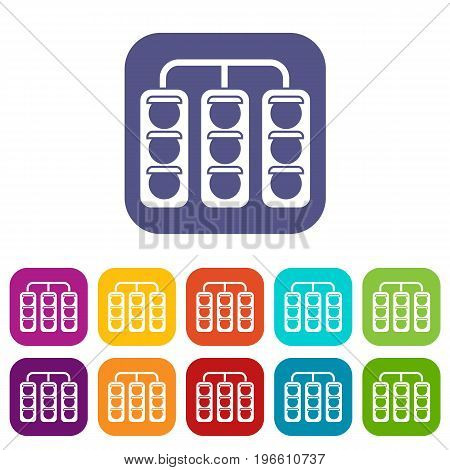 Traffic lights icons set vector illustration in flat style in colors red, blue, green, and other