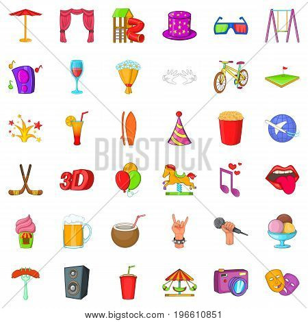 Lunapark icons set. Cartoon style of 36 lunapark vector icons for web isolated on white background