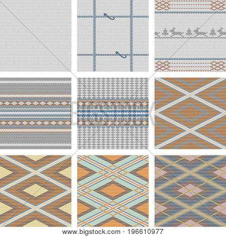 Vector set of tartan fabric texture, graphic backgrounds