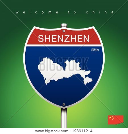 An Sign Road America Style with state of China with green background and message SHENZHEN and map vector art image illustration
