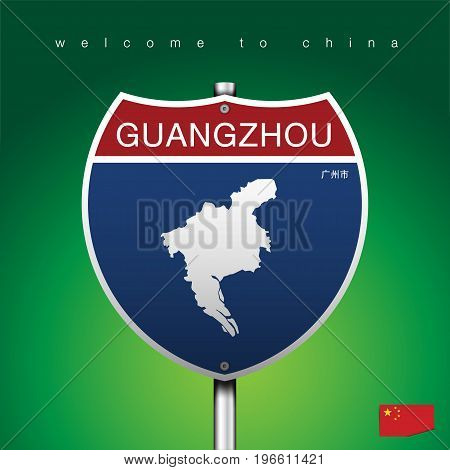 An Sign Road America Style with state of China with green background and message GUANGZHOU and map vector art image illustration