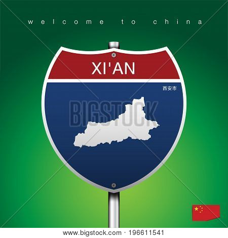 An Sign Road America Style with state of China with green background and message, XI'AN and map, vector art image illustration