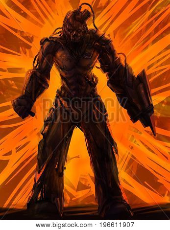 Illustration of a futuristic muscle man standing with skull helmet and holding weapons on orange striped background.