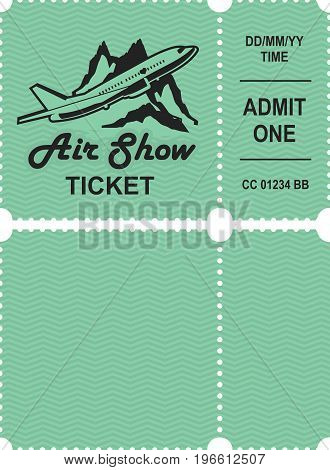 Vector illustration ticket countermark for aviation show simple