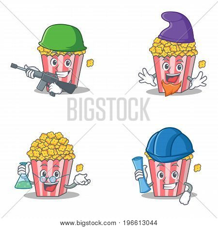 Set of Popcorn character with army elf professor architect vector illustration