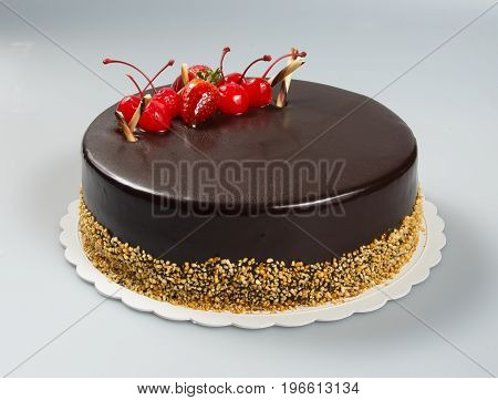 Cake Or Cake With Strawberries And Chocolate On A Background.