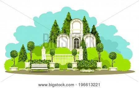 Vector illustration of place of mass recreation Park architecture garden plants bench