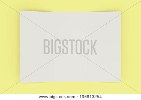 Blank White Open Three Fold Brochure Mockup On Yellow Background