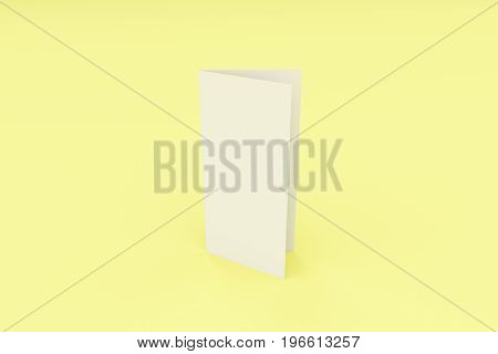 Blank White Closed Three Fold Brochure Mockup On Yellow Background