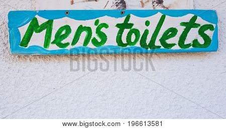 Handmade painted inscription toilet for men, wc sign.