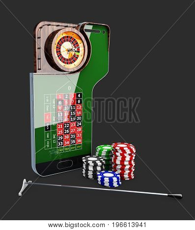 Casino Roulette Wheel With Casino Chips, 3D Illustration
