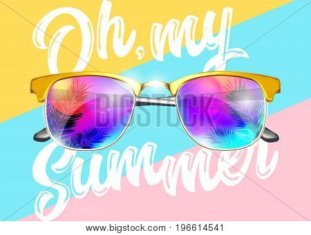 Minimal Fashion Vector Design. Yellow Sunglasses on Striped Pastel Background. Bright Reflections with Palm. Creative Pop Art Style. Glamour Art with Oh my Summer Text. Top View.