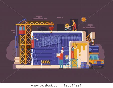 Website under construction concept background in flat design. Maintenance page or 404 error vector illustration with house building site, builders, civil engineer, crane and laptop. Web banner.
