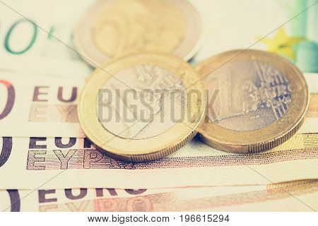 Money Euro currency (EUR) bills and coins