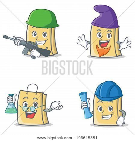 Set of bag character with army elf professor architect vector illustration
